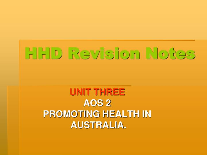 Hhd revision notes