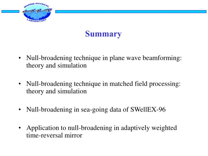 Null-broadening technique in plane wave beamforming: theory and simulation