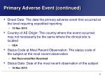 primary adverse event continued