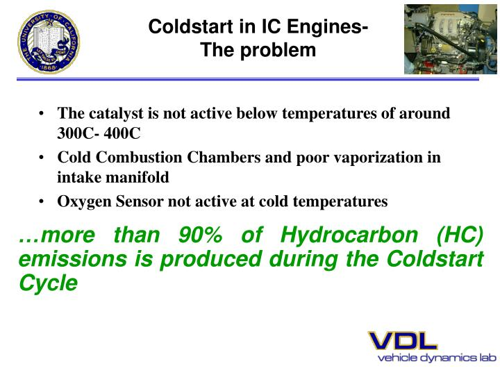 Coldstart in ic engines the problem