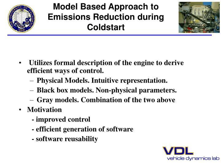 Model Based Approach to Emissions Reduction during Coldstart