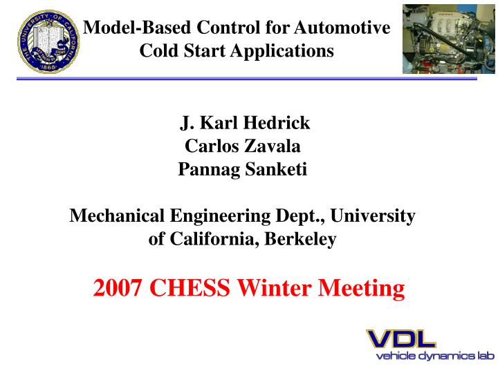 Model based control for automotive cold start applications