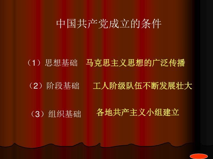 中国共产党成立的条件