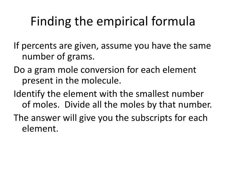 Finding the empirical formula