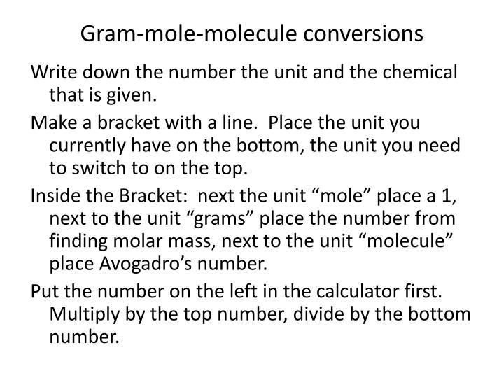Gram-mole-molecule conversions