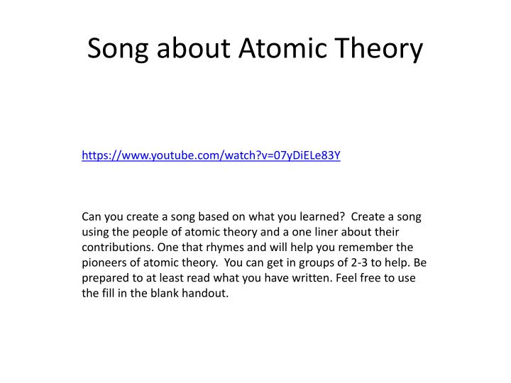 Song about Atomic Theory