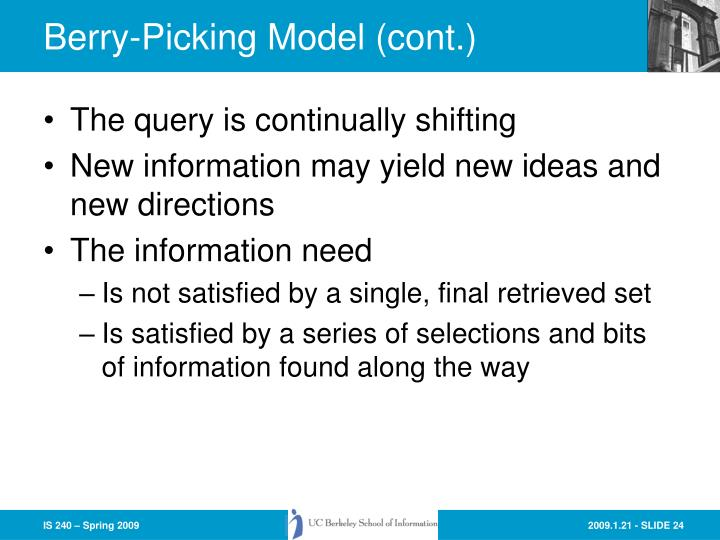 Berry-Picking Model (cont.)