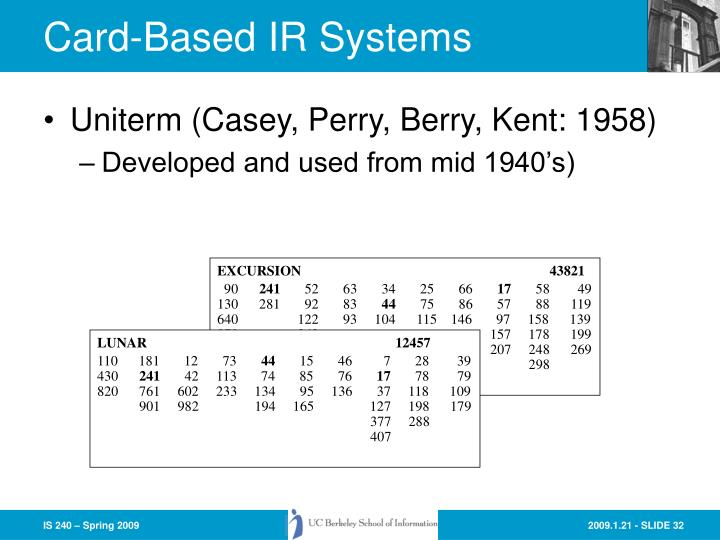 Card-Based IR Systems