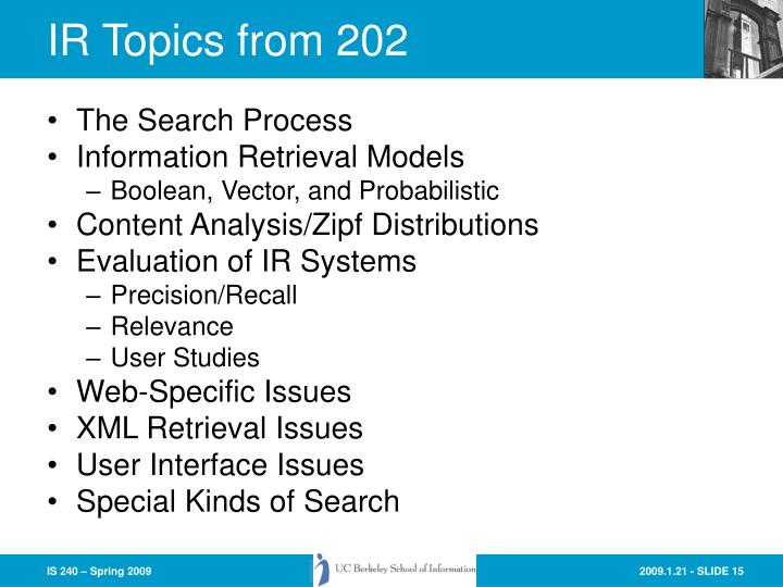 IR Topics from 202