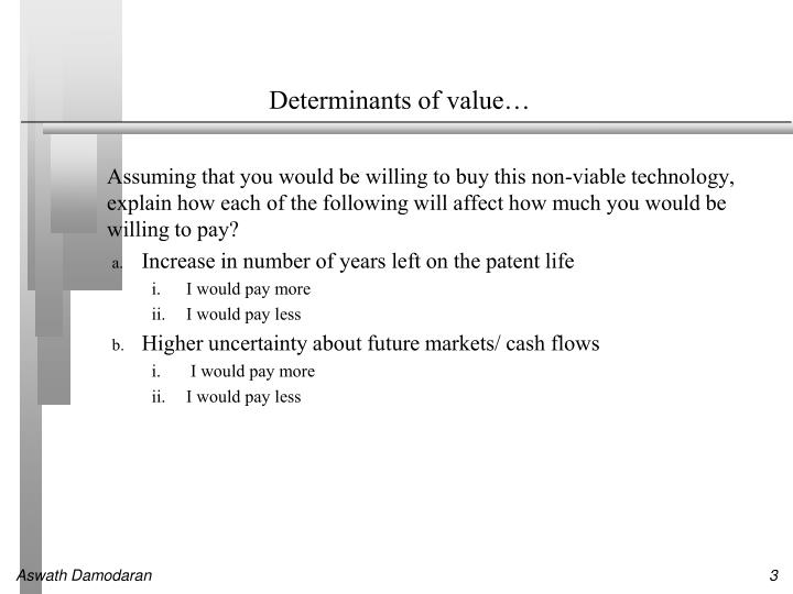 Determinants of value