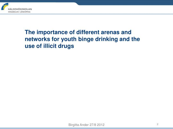 The importance of different arenas and networks for youth binge drinking and the use of illicit drug...