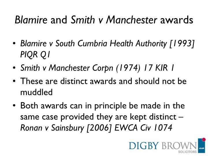 Blamire and smith v manchester awards