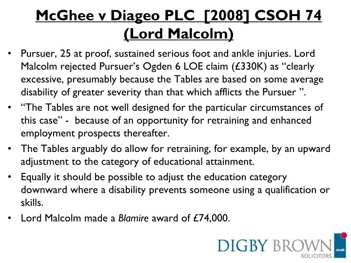 McGhee v Diageo PLC  [2008] CSOH 74  (Lord Malcolm)