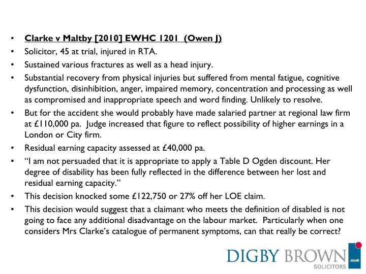 Clarke v Maltby [2010] EWHC 1201  (Owen J)