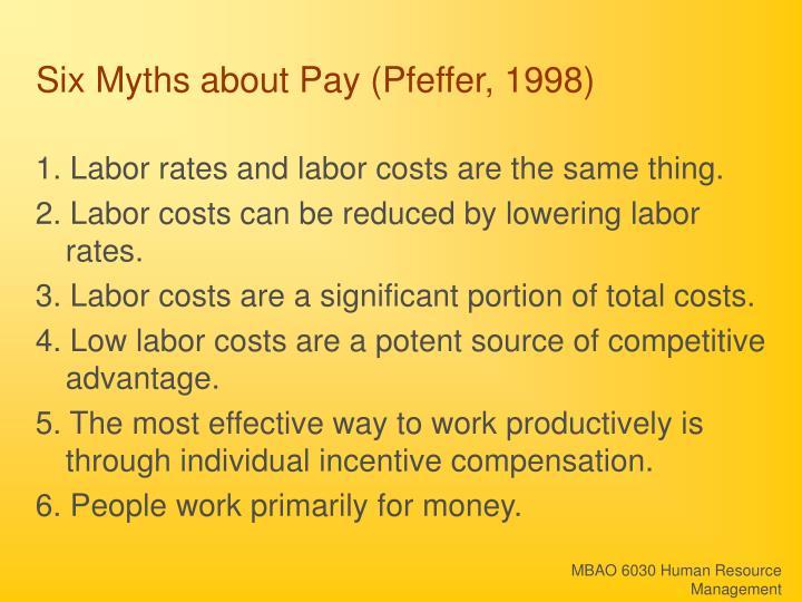 Six Myths about Pay (Pfeffer, 1998)