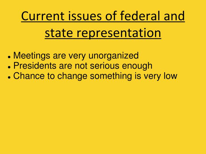 Current issues of federal and state representation