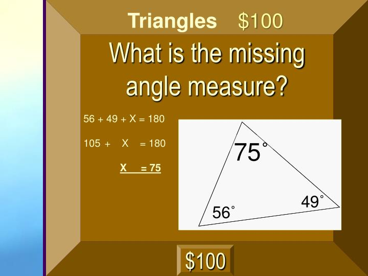 What is the missing angle measure?