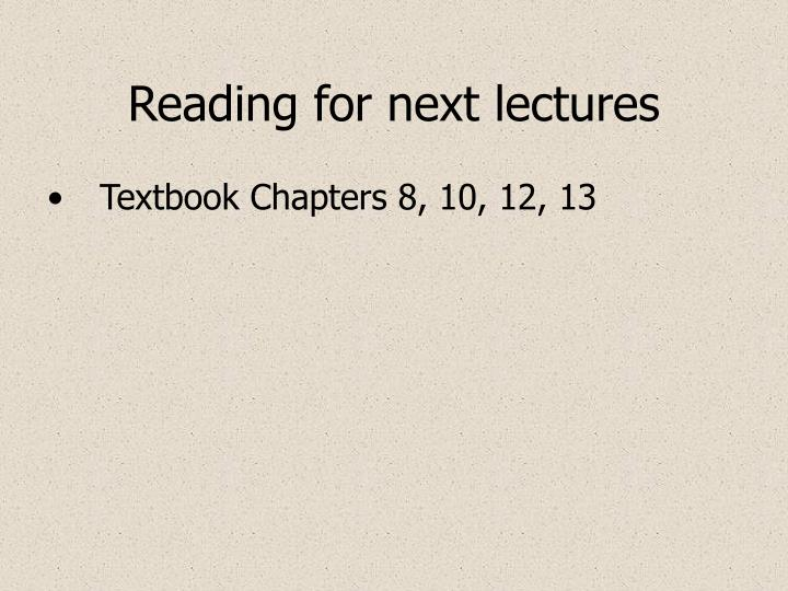 reading for next lectures n.