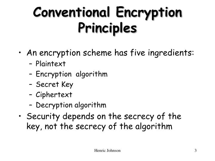 Conventional encryption principles