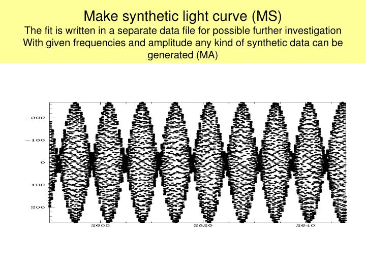 Make synthetic light curve (MS)