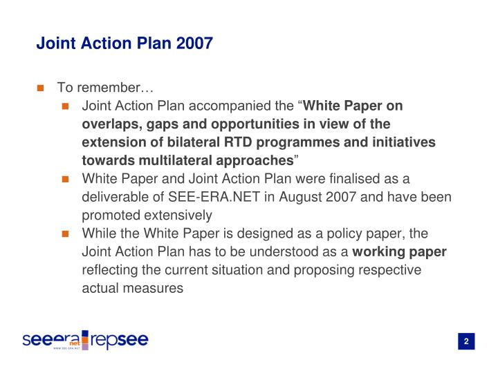 Joint action plan 2007