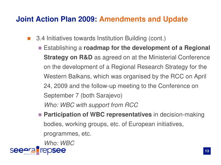 Joint Action Plan 2009: