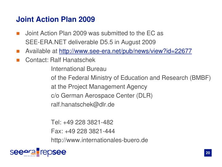 Joint Action Plan 2009