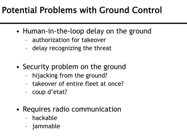 Potential Problems with Ground Control