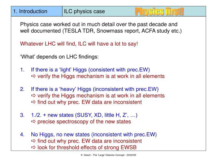 1 introduction ilc physics case