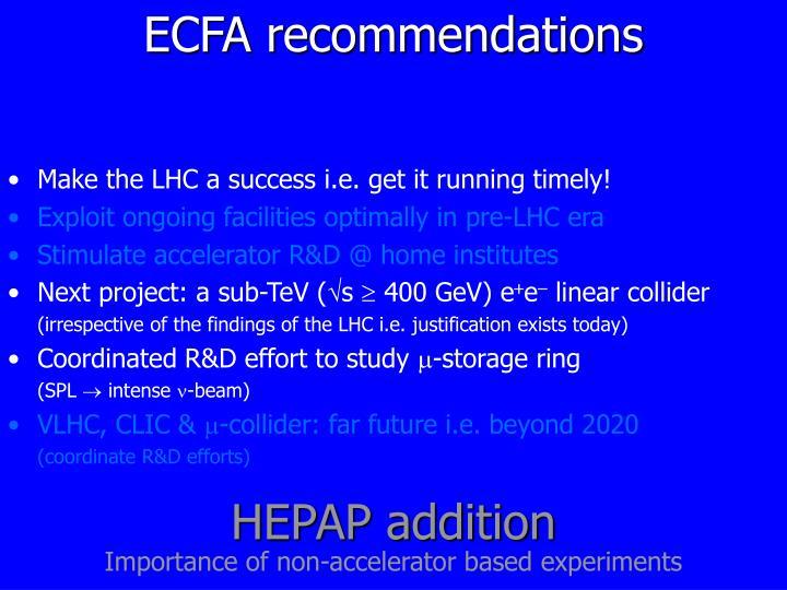 ECFA recommendations