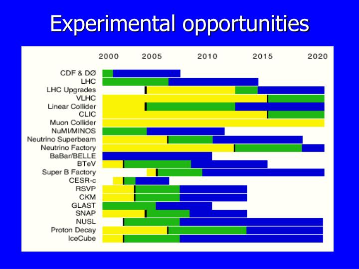Experimental opportunities