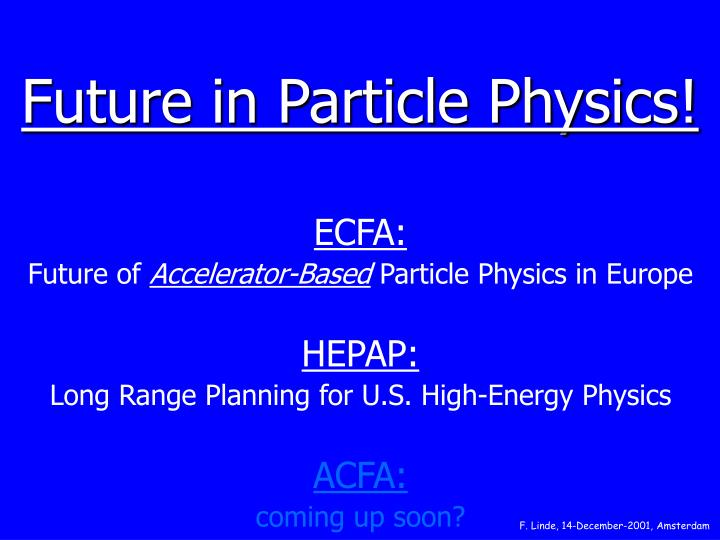 Future in particle physics