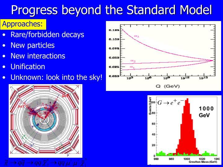Progress beyond the Standard Model