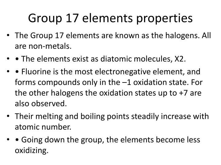 Group 17 elements properties