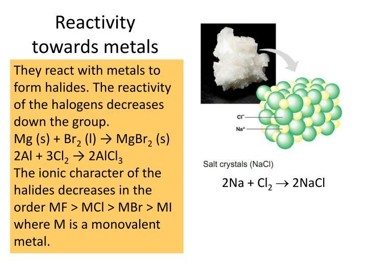 Reactivity towards metals