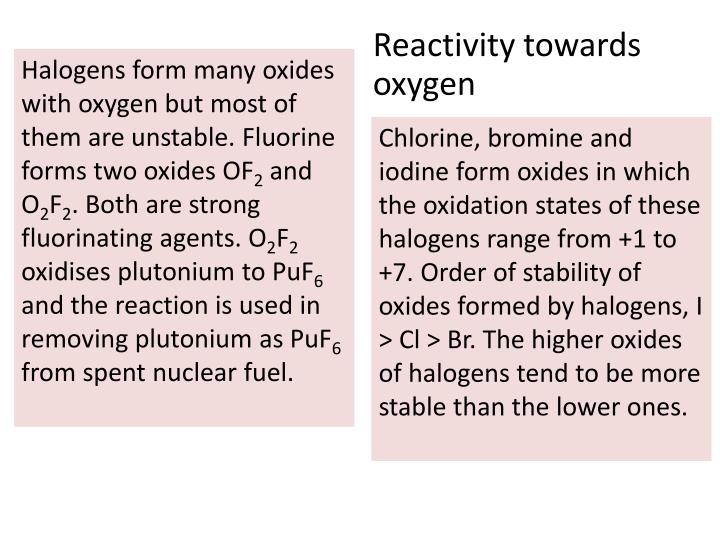 Reactivity towards oxygen
