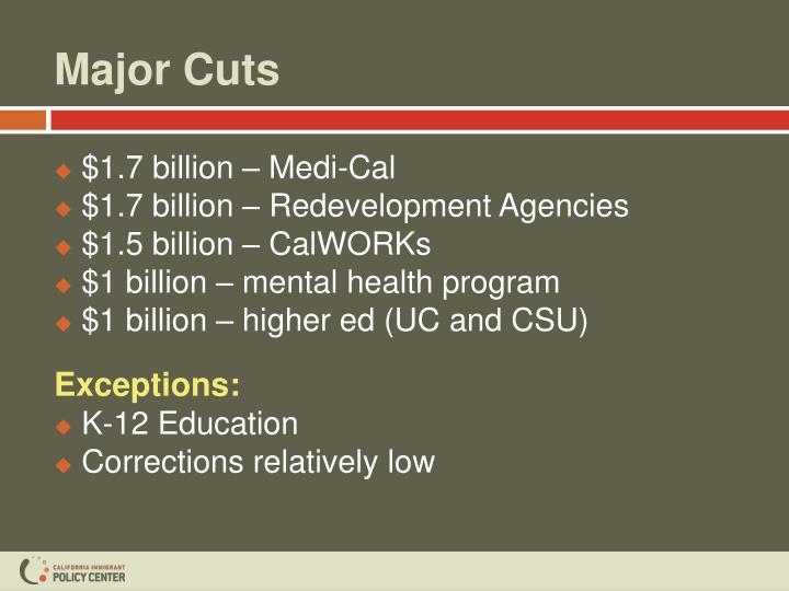 Major cuts