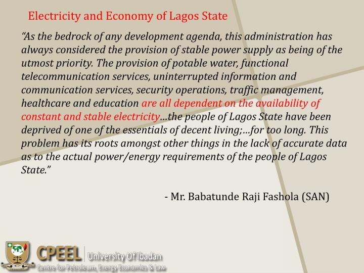 Electricity and economy of lagos state