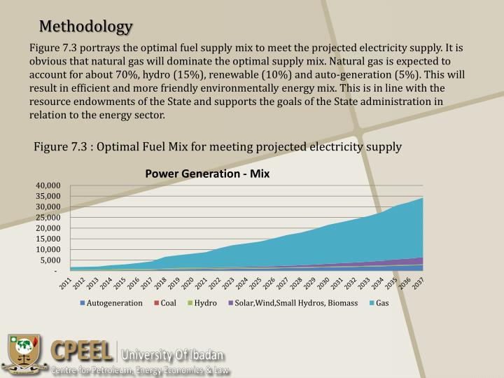 Figure 7.3 portrays the optimal fuel supply mix to meet the projected electricity supply. It is obvious that natural gas will dominate the optimal supply mix. Natural gas is expected to account for about 70%, hydro (15%), renewable (10%) and auto-generation (5%). This will result in efficient and more friendly environmentally energy mix. This is in line with the resource endowments of the State and supports the goals of the State administration in relation to the energy sector.