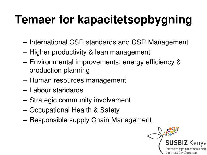 Temaer for kapacitetsopbygning