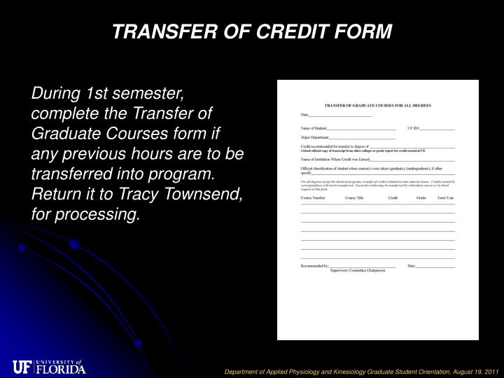 TRANSFER OF CREDIT FORM