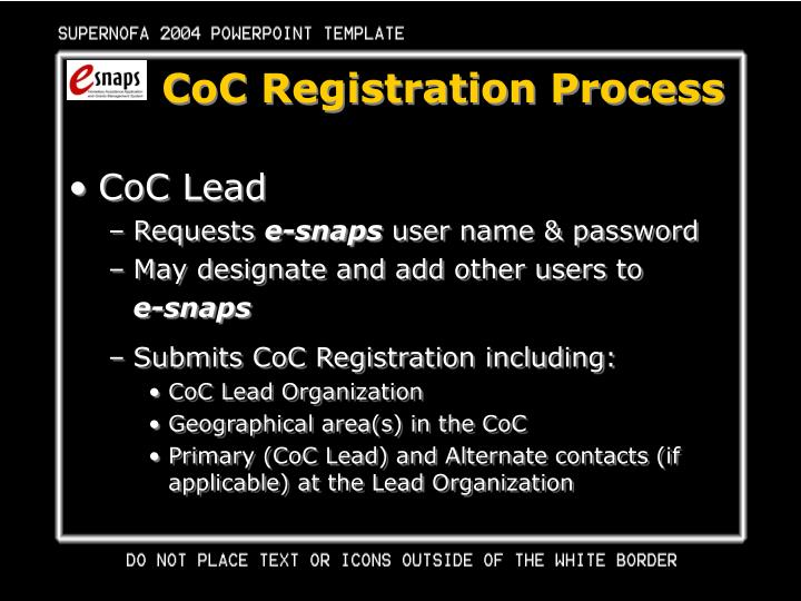 CoC Registration Process