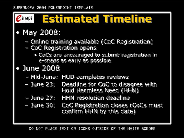 Estimated Timeline