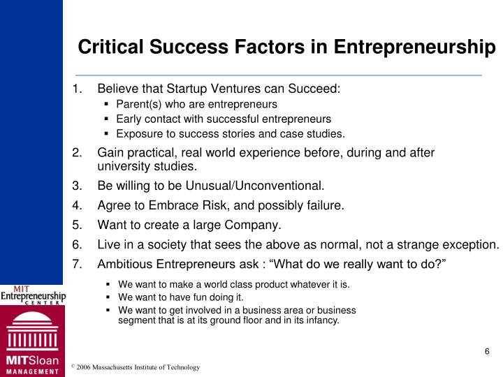 Critical Success Factors in Entrepreneurship