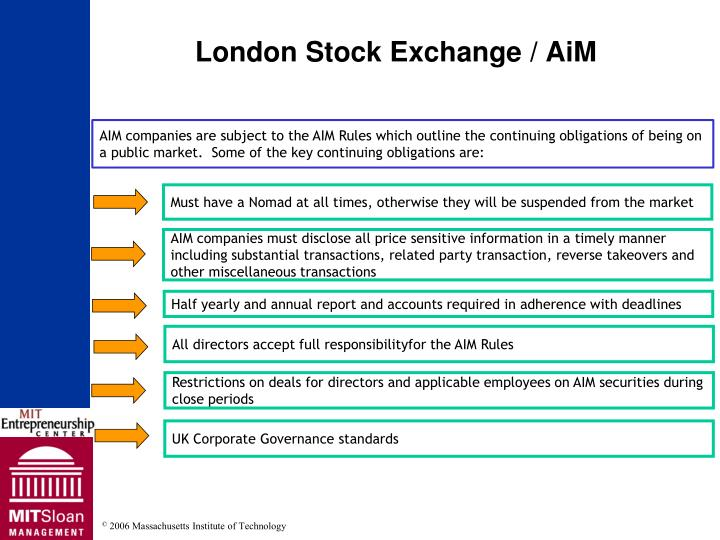 AIM companies are subject to the AIM Rules which outline the continuing obligations of being on a public market.  Some of the key continuing obligations are: