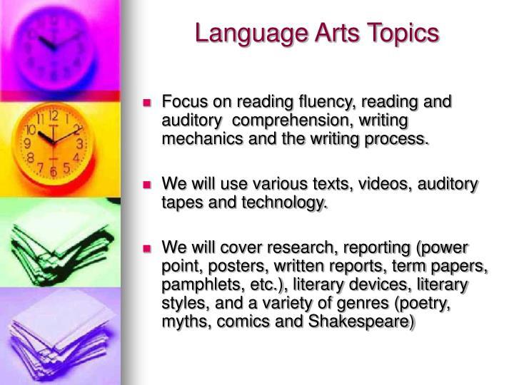 Language Arts Topics