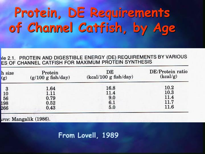 Protein, DE Requirements of Channel Catfish, by Age