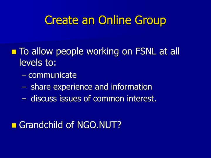 Create an Online Group