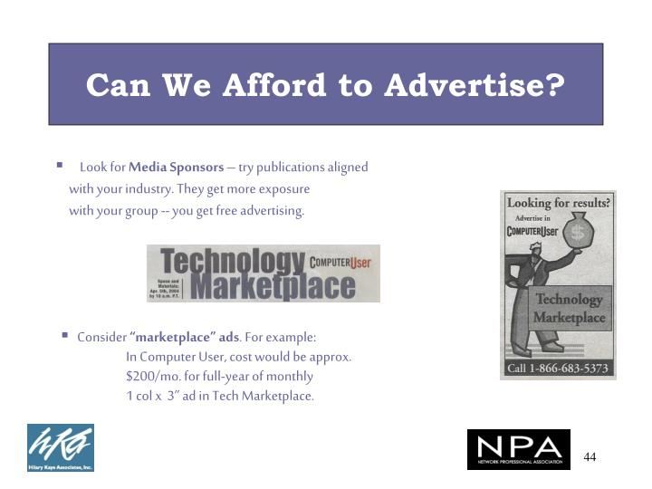 Can We Afford to Advertise?