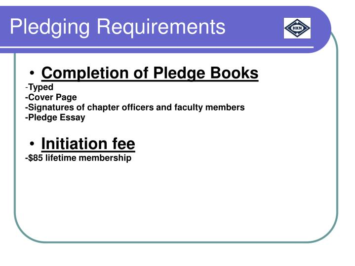 Completion of Pledge Books